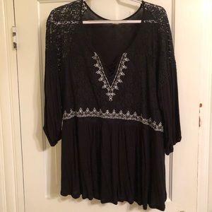 eyeshadow black lace sleeve blouse